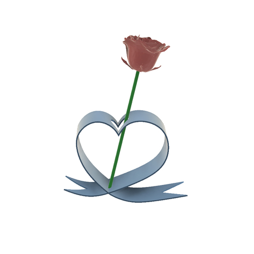 DESKTOP HEART RIBBON FLOWER HOLDER 3D Print 246533