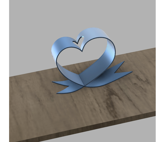 DESKTOP HEART RIBBON FLOWER HOLDER 3D Print 246534
