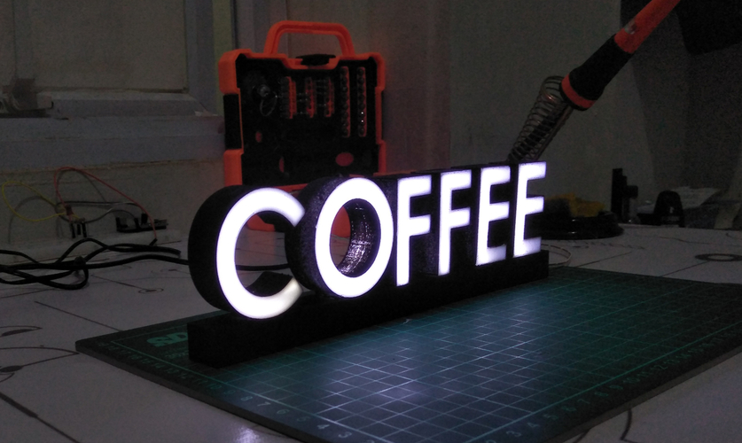 TEXT LED COFFEE 3D Print 246595