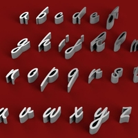 Small FREESTYLE font lowercase 3D letters STL file 3D Printing 246751