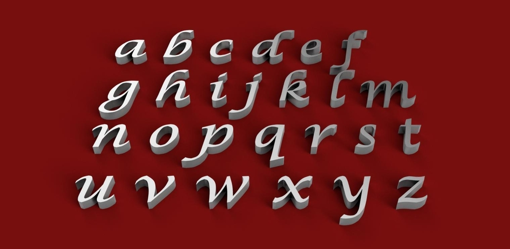LUCIDA CALLIGRAPHY font lowercase 3D letters STL file 3D Print 247003