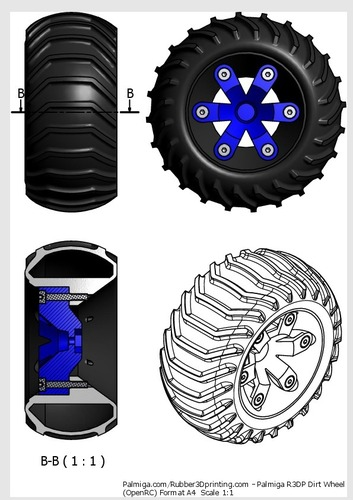 Set of wheels for OpenRC Truggy 3D Print 24707