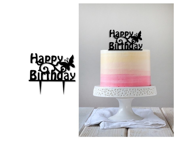 Birthday cake topper  set of 3  3D Print 247374