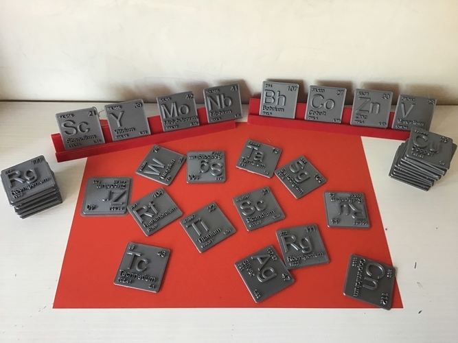 Periodic Table of Elements  d-block  chemistry   -  stl file 3D Print 247880