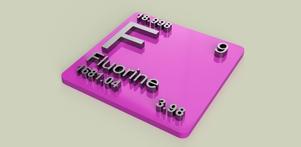 Periodic Table of Elements  p-block  chemistry   -  stl file 3D Print 247902