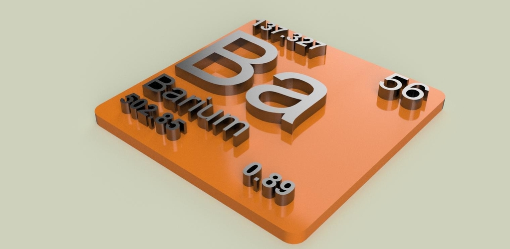 Periodic Table of Elements  s-block  chemistry   -  stl file 3D Print 247904