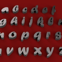 Small FORTE font lowercase 3D letters STL file 3D Printing 248088