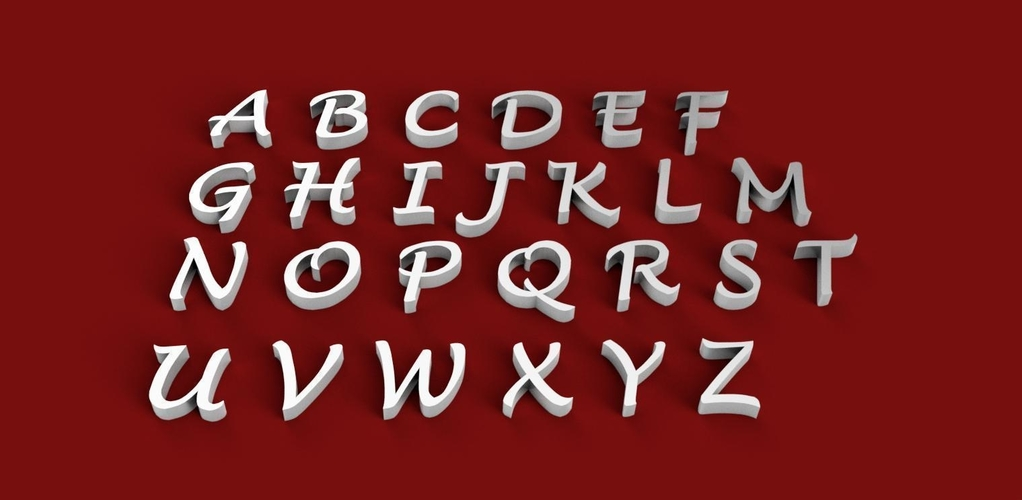 LUCIDA HANDWRITING font uppercase 3D letters STL file 3D Print 248094