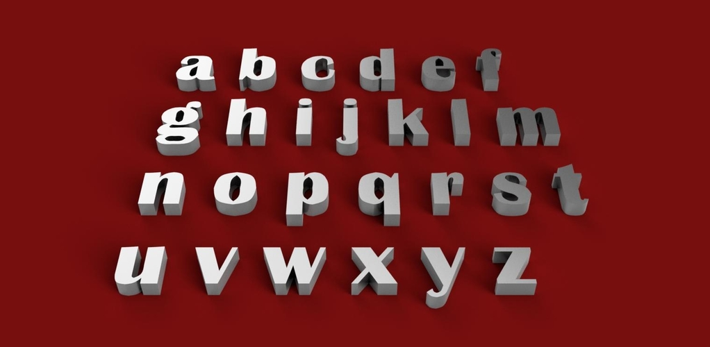 BRITANNIC BOLD font uppercase and lowercase 3D letters STL file 3D Print 248396