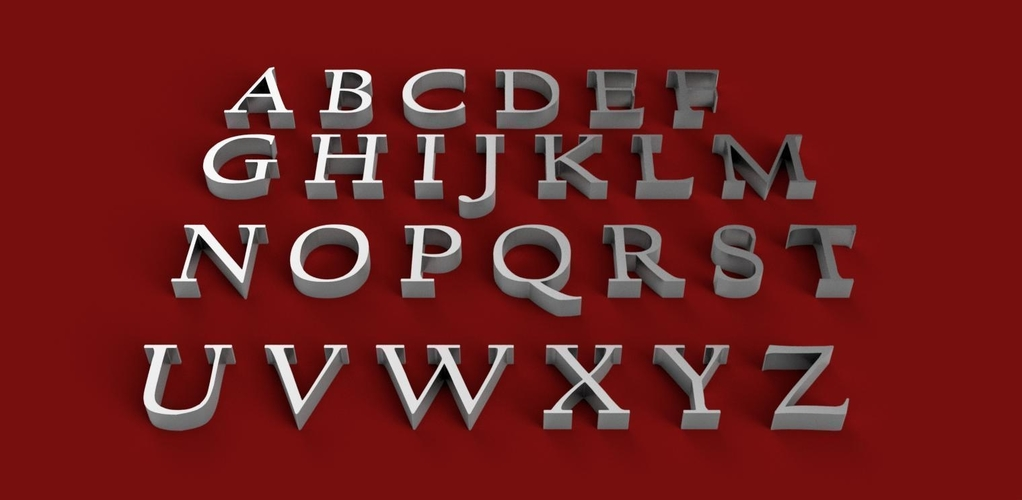 CALIFORNIAN font uppercase and lowercase 3D letters STL file 3D Print 248399