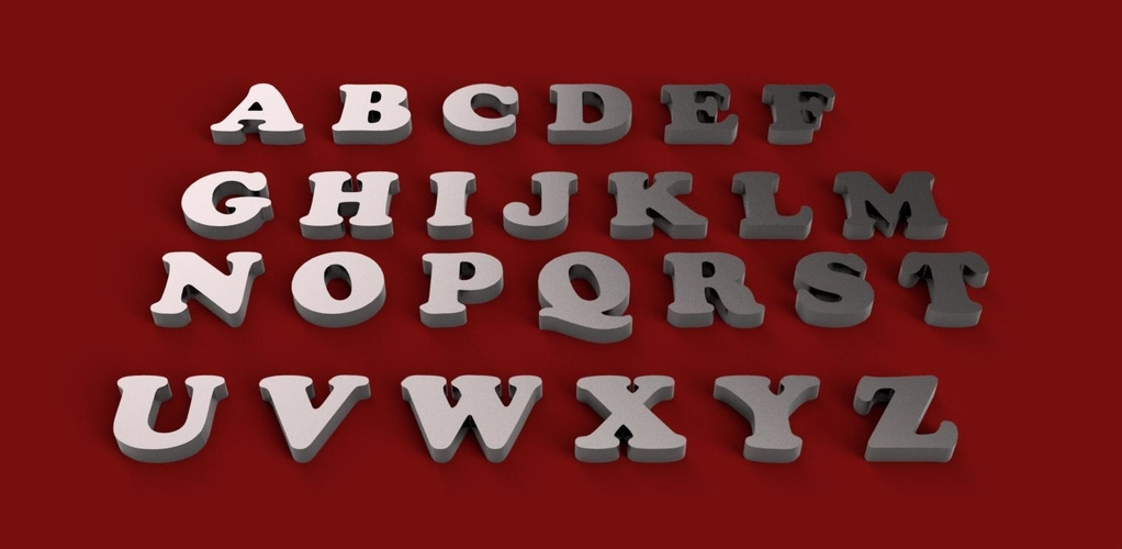 COPPER BLACK font uppercase and lowercase 3D letters STL file 3D 3D Print 248405