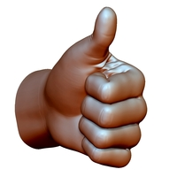 Small Thumb up hand sign gesture male 3D Printing 248657