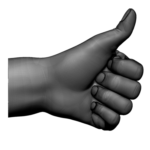 Thumb up hand sign gesture male 3D Print 248661