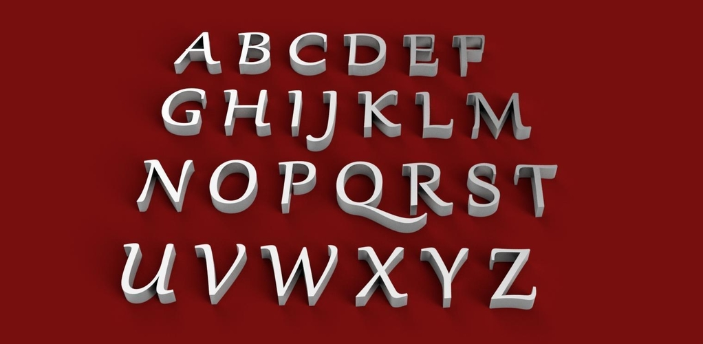 GABRIOLA font uppercase and lowercase 3D letters STL file 3D Print 249073