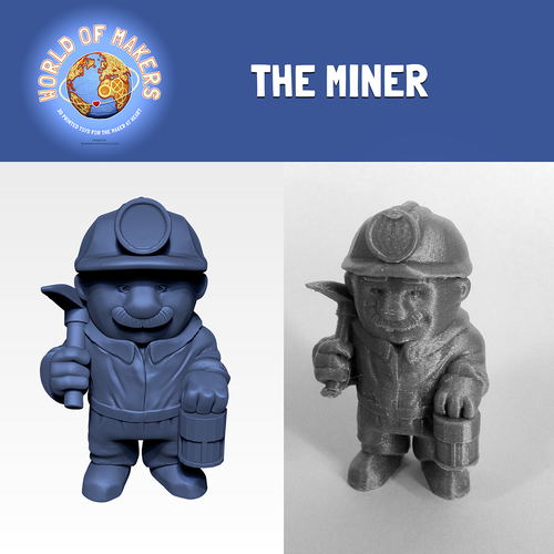 """The Miner"" from the World of Makers series 3D Print 24928"
