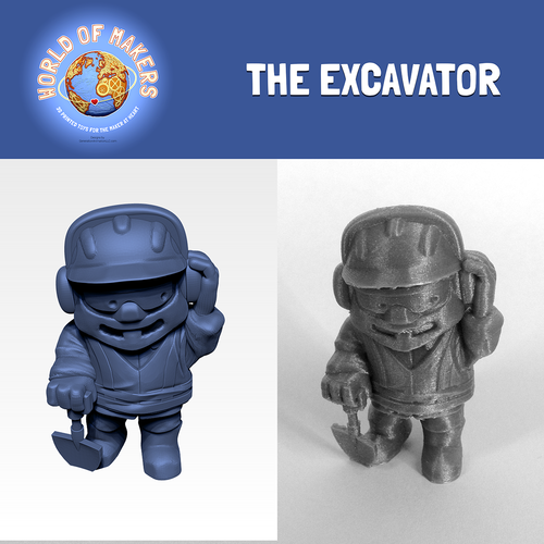 """The Excavator"" from the World of Makers series 3D Print 24931"