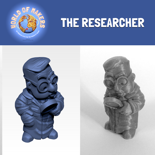 """The Researcher"" from the World of Makers series 3D Print 24941"