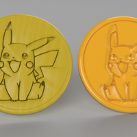 Small pikachu coaster (pair) 3D Printing 250010