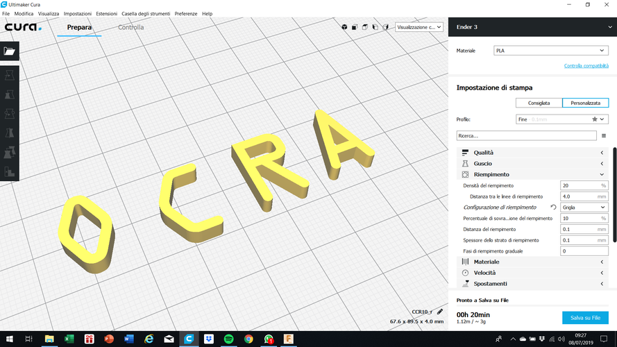 OCRA font uppercase and lowercase 3D letters STL file 3D Print 250151