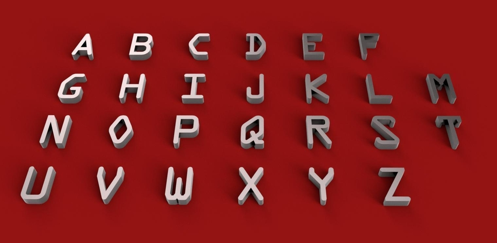 OCRA font uppercase and lowercase 3D letters STL file 3D Print 250153