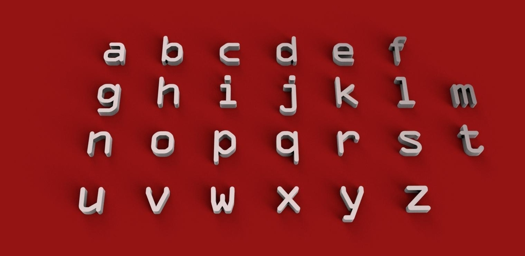 OCRA font uppercase and lowercase 3D letters STL file 3D Print 250156