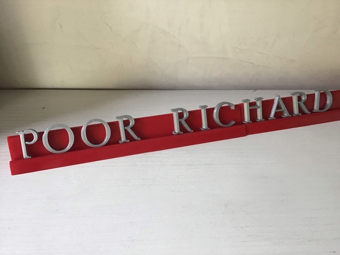 POOR RICHARD font uppercase and lowercase 3D letters STL file 3D Print 250159