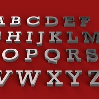 Small ROCKWELL font uppercase and lowercase 3D letters STL file 3D Printing 250164