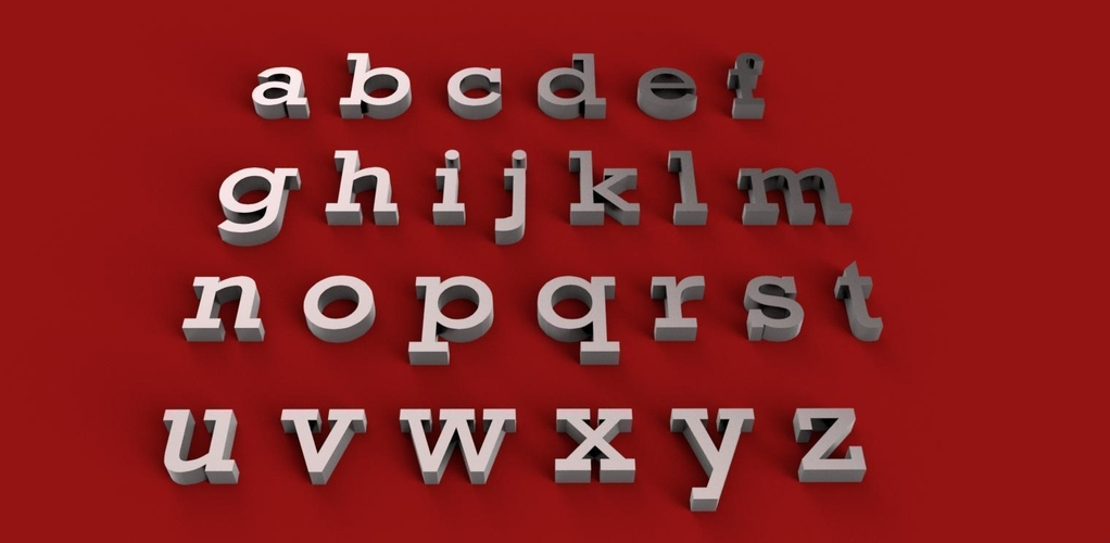 ROCKWELL font uppercase and lowercase 3D letters STL file 3D Print 250169