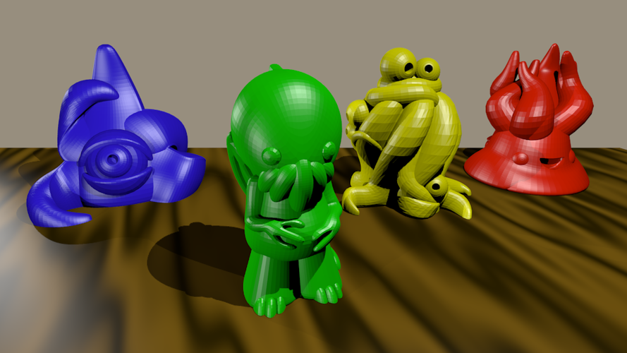 Cute Lovecraft Inspired Pawns 3D Print 2503