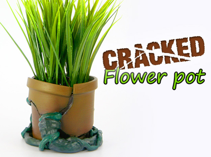 Cracked Flower Pot 3D Print 25031
