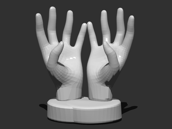 Medium  Hands Smartphone  Holder (low Poly) 3D Printing 25049