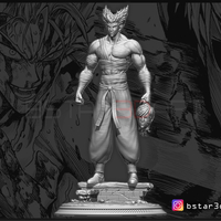 Small ​Garou - One punch Man - Fan Art - Realistic Version 3D Printing 250535