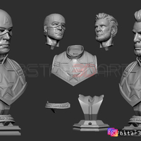 Small Captain America bust - with 2 Heads for bust - from Marvel 3D Printing 250602
