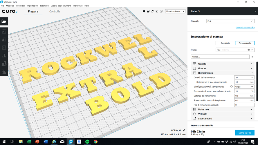 ROCKWELL EXTRA BOLD font uppercase and lowercase 3D letters 3D Print 250932