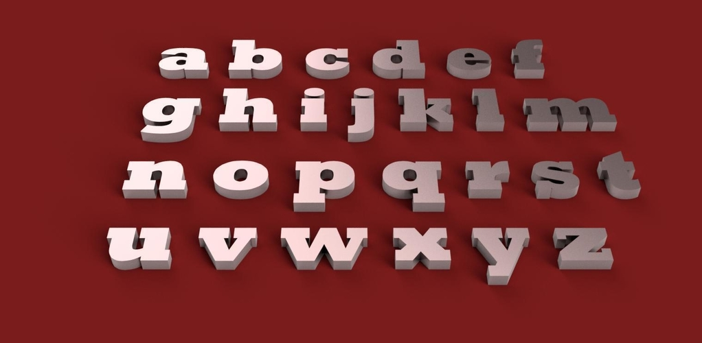 ROCKWELL EXTRA BOLD font uppercase and lowercase 3D letters 3D Print 250936