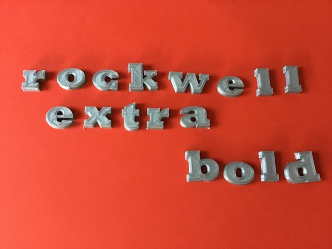 ROCKWELL EXTRA BOLD font uppercase and lowercase 3D letters 3D Print 250937