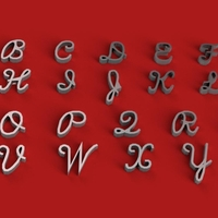 Small SCRIPTS font uppercase 3D letters STL file  3D Printing 251062