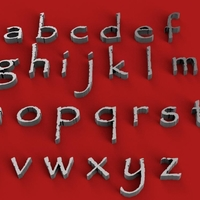 Small PAPYRUS font lowercase 3D letters STL file 3D Printing 251836