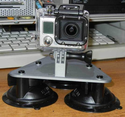 GoPro Camera 3 point suction cup mount. Hood mount 3D Print 25233