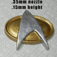 Small Higher resolution Trek Badge with magnet hole 3D Printing 25263