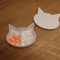 Small Cat shaped box with divider and small ramp for pills 3D Printing 25272