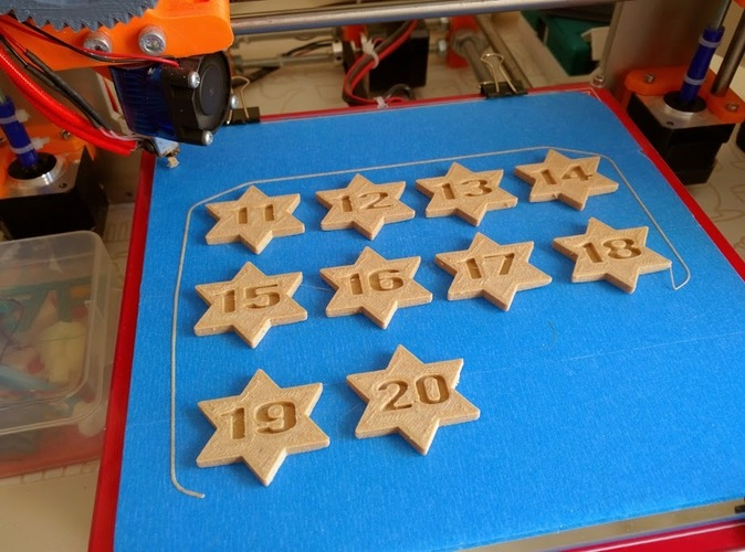 Stars with numbers from 1 to 50 embossed on 3D Print 25278