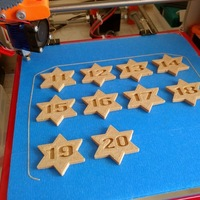 Small Stars with numbers from 1 to 50 embossed on 3D Printing 25278
