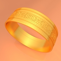 Small Wedding Gold Ring KTWR01 3D Printing 253443