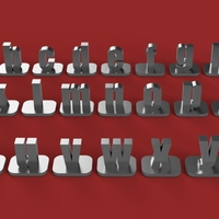 Small VERTICAL-1 lowercase 3D letters STL file 3D Printing 253517