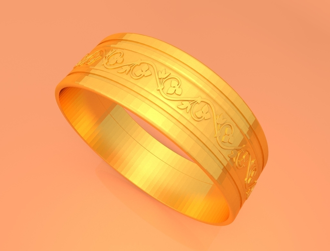 Wedding Gold Ring KTWR03 3D Print 253763