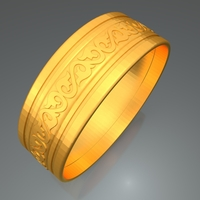 Small Wedding Gold Ring KTWR07 3D Printing 253769