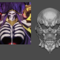 Small Ainz Ooal Gown Mask from OverLord - Fan Art for cosplay 3D Printing 253997