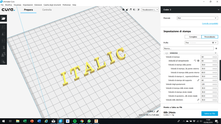 ITALIC font uppercase 3D letters STL file 3D Print 254371