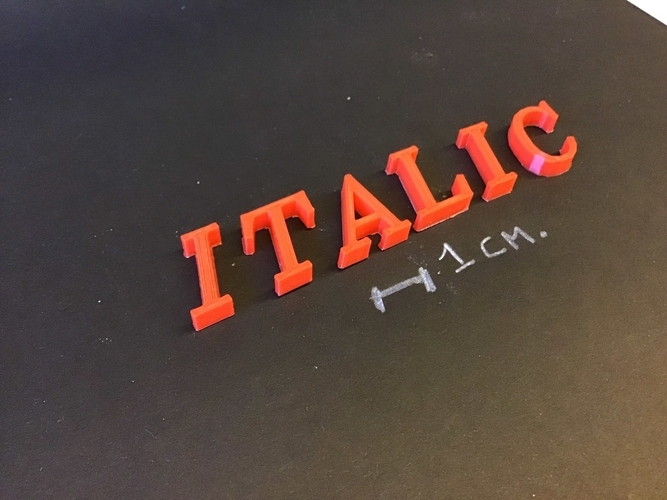 ITALIC font uppercase 3D letters STL file 3D Print 254374